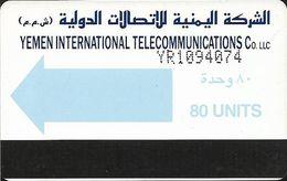 Yemen - Yemen Intl. Telecom. - Autelca - Light Blue Arrow - Cn. YR+7 Digits (dashed), 1990, 80U, Used - Yemen