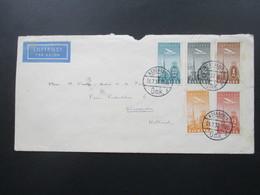 Dänemark 1934 Flugpost Luftpost Nr. 217-221 Satzbrief Air Mail Nach Holland Die Neue Linie Segelfahrten Seejacht Gud-win - Cartas