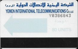 Yemen - Yemen Intl. Telecom. - Autelca - Light Blue Arrow - Cn. Y+7 Digits (dashed), 1990, 80U, Used - Yemen