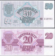 Lettland - Latvia 20 + 50 Rubel Banknoten UNC (1) 1992 Pick 39 + 40   (12971 - Lettonia