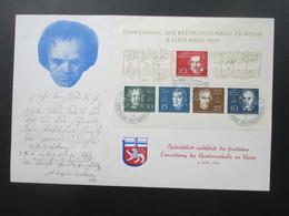 BRD 1959 Gedenkblatt Block 2 Eröffnung / Einweihung Beethoven Halle Bonn Mit SST / Ersttagsstempel - BRD