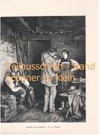 525 Defregger Botaniker In Der Almhütte Kunstblatt 32 X 22 Cm Ca.1880 !! - Estampes