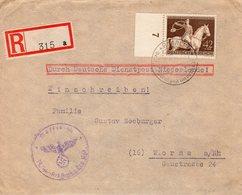 1943 Aangetekende Br DURCH DEUTSCHE DIENSTPOST  Van Haarlem Naar Worms Met BRAUNE BAND-zegel En Stempel Waffen SS - 1891-1948 (Wilhelmine)