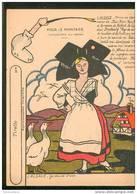 Très Belle Image Alsatique Découper Phosphatine Fallières Alsace La Gardeuse D' Oies - Old Paper