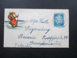 Rumänien 1950 / 60er Jahre Kleiner GA Umschlag Mit Bild Vom Weihnachtsmann / Nikolaus. Verwendet 1962 - Covers & Documents