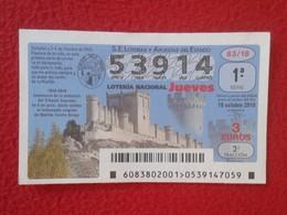 SPAIN ESPAGNE DÉCIMO DE LOTERÍA NACIONAL NATIONAL LOTTERY LOTERIE NATIONALE PEÑAFIEL MATILDE CORCHO ARROYO CASTILLO VER - Billetes De Lotería