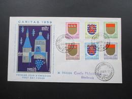 Luxemburg 1959 Kantonalwappen IV FDC Caritas 1959 Nach Ettelbruck Mit Ak Stempel FDC No 003388 - Luxemburg