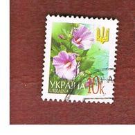 UCRAINA (UKRAINE)  -  MI 495AI   -  2002  FLOWERS: HOLLYHOCKS  10  -   USED - Ucraina