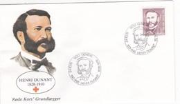 Switzerland / Denmark, 24-10--1978, Red Cross,Henri Dunant, Founder Of Red Cross, 150 Years, Swiss Stamp, Geneve - Switzerland