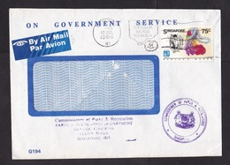 Singapore: Official Cover, 1986, 1 Stamp, Garland Maker, Heritage, Government Service, Air Label (minor Damage) - Singapore (1959-...)