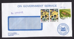 Singapore: Official Cover, 1989, 3 Stamps, Insect, Cricket, Children Drawing, Government Service (traces Of Use) - Singapore (1959-...)