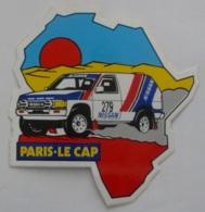 COURSE AUTOMOBILE PARIS - LE CAP / Voiture NISSAN - Forme AFRIQUE - Autocollant Publicitaire - Autocollants