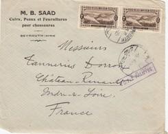 """LETTRE DEVANT.  GRAND LIBAN. 1925. 4P. M.B. SAAD CUIR & PEAUX BEYROUTH POUR CHATEAU-RENAULT  """" VOTEZ PALMYRE""""  / 2 - Gran Libano (1924-1945)"""