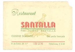 Carte Commerciale Espagne, Irun - Restaurant Santalla - Werbung