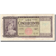 Billet, Italie, 500 Lire, 1948, 1948-02-10, KM:80a, TTB - [ 1] …-1946 : Reino
