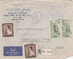 LETTRE .  LIBAN. 1968. 80P. PAUL WEIL & FILS. RECOMMANDE BEYROUTH POUR CHATEAUROUX   / 2 - Liban