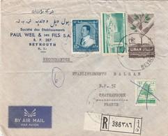 LETTRE .  LIBAN. 1968. 70P. PAUL WEIL & FILS. RECOMMANDE BEYROUTH POUR CHATEAUROUX   / 2 - Liban