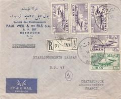 LETTRE .  LIBAN. 1958. 65P. PAUL WEIL & FILS. RECOMMANDE BEYROUTH POUR CHATEAUROUX   / 2 - Liban