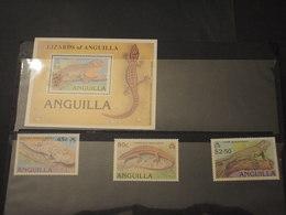 ANGUILLA 1989 LIZARD 3 VALORI + BF - NUOVI(++) - Anguilla (1968-...)