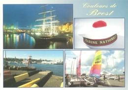 """29 - Brest -Multivues (4) : Belem Dans La Penfeld, Bachi"""" De La Marine, Parc Des Phares Et Balise, Centre.. Moulin Blanc - Brest"""