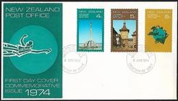 1974 - NEW ZEALAND - FDC - SG 1047/1049 [U.P.U.] + WELLINGTON - FDC