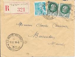 MANCHE 50  -  LA HAYE PESNEL     - CACHET RECETTE R A5  - S/LETTRE RECOMMANDEE 1943 - TARIF 5 1 42 - Marcophilie (Lettres)