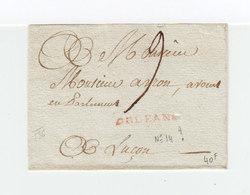 Sur Partie De Lettre Pour Luçon Cachet Linéaire Rouge Orléans. Taxe Manuscrite. (2269x) - 1701-1800: Precursores XVIII