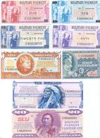USA Military Payment Certificates 8 Note Set Series 692 COPY - Military Payment Certificates (1946-1973)