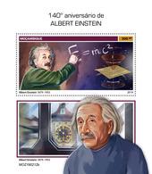 MOZAMBIQUE 2019 - A. Einstein, Clock S/S. Official Issue - Clocks