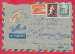 242275 / Par Avion COVER 1961 - 1.65 Lv. Combine Harvester MINE MINER Henrik Ibsen RETOUR GERMANY LABEL , Bulgaria - Bulgarie