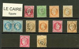 LE CAIRE : GC 5119 Sur 12 Timbres (n°17, 20, 23, 28, Paire 29, 30, 31, 32, 38, 57, 59). TB, B Ou Pd. - Frankrijk (oude Kolonies En Protectoraten)