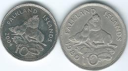 Falkland Islands - Elizabeth II - 10 Pence - 1980 (KM5.1) & 2004 Non-magnetic (KM133) - Falkland