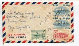 ENVELOPE CIRCULATED FROM PERU TO ARGENTINA YEAR 1953, AIR MAIL. SOBRE CIRCULADO VIA AEREA - LILHU - Peru