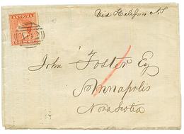 ANTIGUA : 1869 1d Canc. A02 On Complete PRINTED MATTER To NOVA-SCOTIA. Verso, ANTIGUA + ST THOMAS. Superb. - Antigua And Barbuda (1981-...)