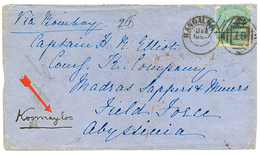 ETHIOPIA - INDIA To FIELD FORCE ABYSSINIA : 1868 INDIA 4a On Envelope From BANGALORE To FIELD FORCE ABYSSINIA Redirected - Ethiopie