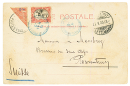 ETHIOPIA : 1905 ETHIOPIA Bisect 5m + SOMALI COAST 10c Canc. DJIBOUTI On Card To SWITZERLAND. Vvf. - Ethiopie