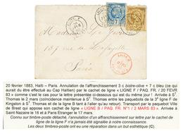 HAITI - LIGNE F : 1883 3c + 7c Canc. By French Maritime Cds LIGNE F PAQ FR + LIGNE B PAQ FR In Red On Envelope To FRANCE - Haiti