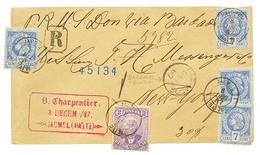 HAITI : 1887 2c + 7c(x4) Canc. JACMEL + Transit BARBADOS On Envelope To NEW YORK (USA). Some Faults. Vf. - Haiti