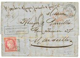 """""""JAFFA Via ALEXANDRIE"""" : 1873 FRANCE 80c Canc. GC 5080 + ALEXANDRIE EGYPTE + """"12"""" Tax Marking On Entire Letter Datelined - Palestine"""