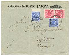 PALESTINE - GERMAN P.O. : 1899 VORLAUFER MIXT GERMANY 10pf(x2) + GERMAN LEVANT 1P On 20pf(x2) Canc. JAFFA On Commercial  - Palestine