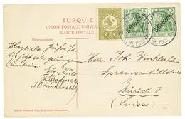PALESTINE : 1911 TURKEY + GERMAN P.O 5c(x2) Canc. JERUSALEM On Card To SWITZERLAND. Vvf. - Palestine