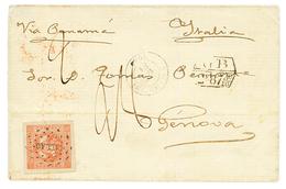 "PERU : 1858 1D Red Canc. CALLAO + GB/2F87 + ""28"" Tax Marking On Cover To ITALY. PF Certificate (2001). Vf. - Peru"