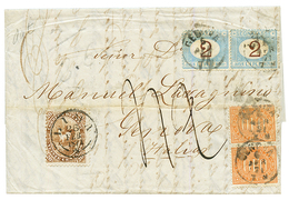 """PERU : 1874 20c Canc LIMA + """"42"""" Tax Marking On Entire Letter To GENOVA (ITALY) Taxed On Arrival With 2 LIRE(x2) + 0,10( - Peru"""