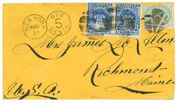 PERU : 1878 GB 1 Shilling + PERU 5c(x2) Canc. Circular Bar Cork On Envelope To RICHMOND (USA). Scarce. MOORHOUSE Certifi - Peru