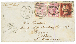 PERU : 1879 GREAT BRITAIN 1d+ 2 1/2d(x2) On Envelope From TAUNTON To PISAGUA Taxed On Arrival With PERU POSTAGE DUE 10c  - Peru