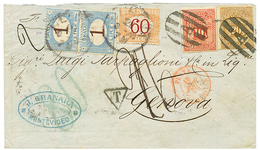 URUGUAY : 1879 10c + 20c + PLATA-MARSEILLE In Red On Envelope To ITALY Taxed With 1L(x2)+ 60c. Vvf. - Uruguay