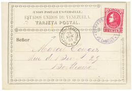 VENEZUELA : 1884 10c + Very Rare French Maritime Cachet PORTO-CABELLO PAQ FR. D N°3 On Card To FRANCE. Scarce. Superb. - Venezuela