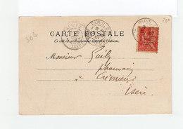 Sur CAD De Paris Type Mouchon T. II CAD Paris 28 B. De Poissy. CAD Destination Crémieu Isère. (2275x) - Marcophilie (Lettres)