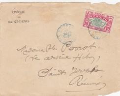 LETTRE. DEVANT. REUNION. 1916. 10C. EVECHÉ DE ST DENIS POUR ST JOSEPH   /   3 - Réunion (1852-1975)