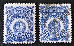 NOUVELLES ARMOIRIES 1906 - OBLITERES - YT 171 - MI 168 - VARIETES DE TEINTES ET D'OBLITERATIONS - Uruguay